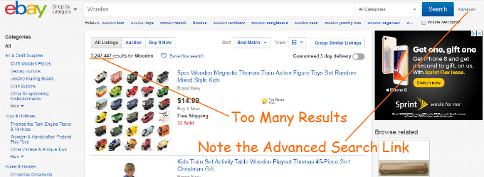 This Ebay Search returns far too many results. Also, note that the Advanced Search link is located to the right of the Search button. Press this link in order to do to the Ebay Advance Search screen.