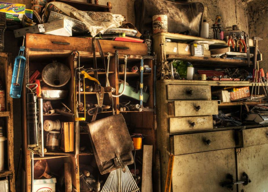 This picture shows a cluttered storage area. Large image.