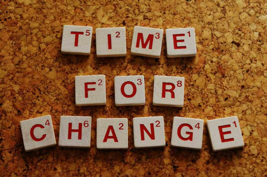 The image shows the phrase TIME FOR CHANGE spelled out with scrabble letters on corkboard. Large image.