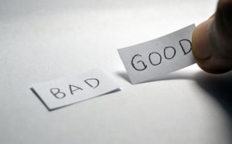 This picture shows the words Good and Bad on pieces of paper. It symbolizes a choice between Good/Useful and Bad/Garbage.