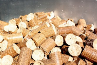 This picture shows recycled wood pellets.