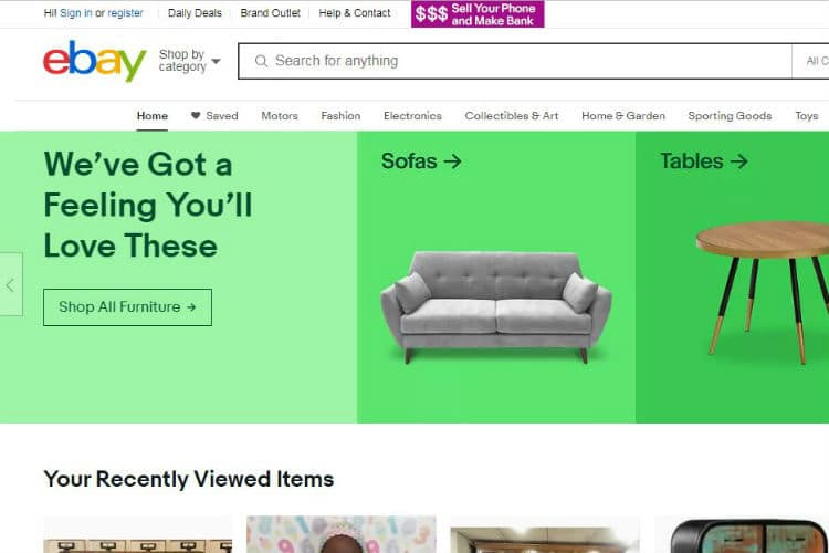 This image shows the the main screen of the eBay e-commerce website.