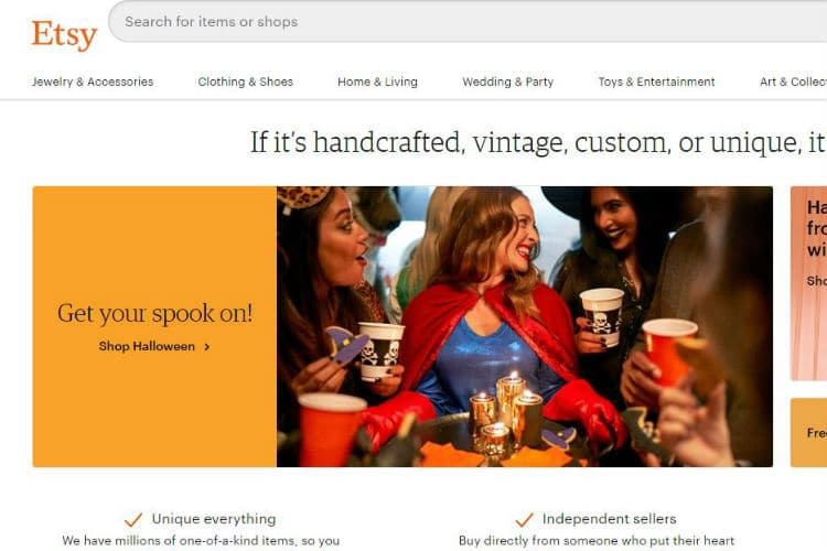 This image shows the the main screen of the Etsy e-commerce website.