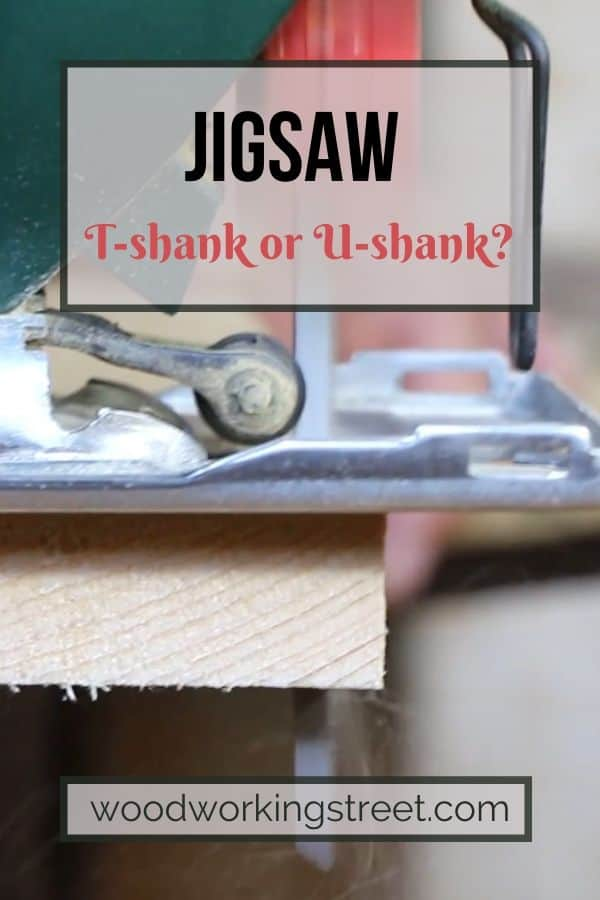 This shows a jigsaw cutting through a piece of wood. It is the Pinterest image for the Can You Use A T-Shank Blade in a U-Shank Jigsaw blog article. To read it, click the pin.