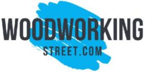 Woodworking Street logo showing blue paint background