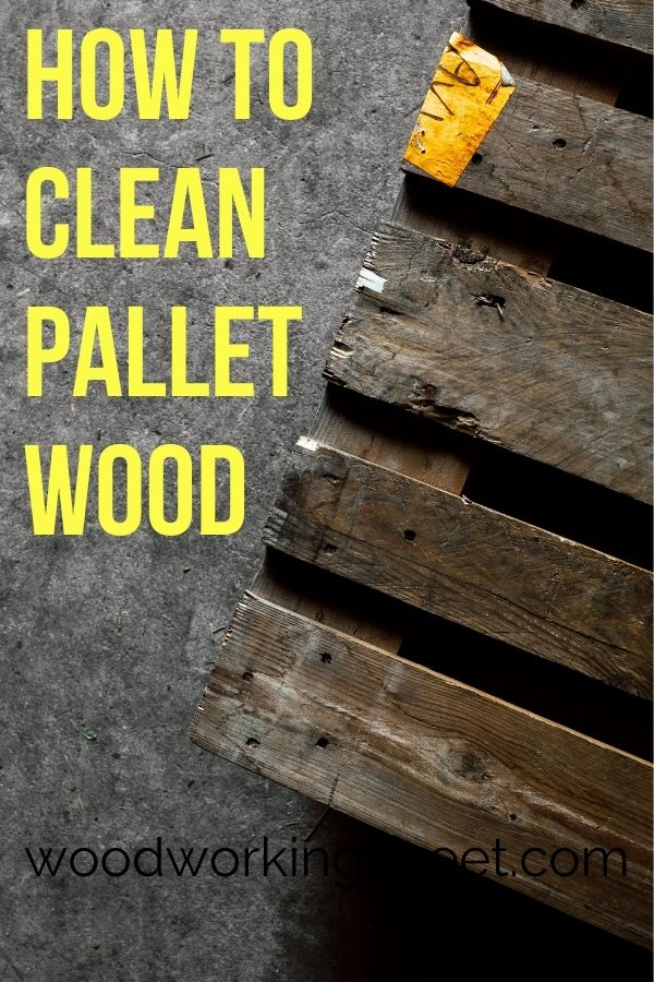 Worn and dirty pallet on a gray background