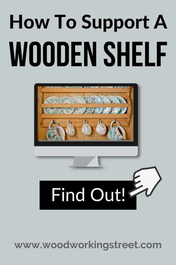 computer screes shows wooden shelf with dishes